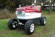 1959 Lusse Sport Scooter Bumper Car Golf Cart / This is a real 1959 Bumper Car that I built on a 2011 Ez Go golf cart, this project started out with only the bumper car body. This was built upon a 2011 Ez Go PDS golf cart. Yes, and she runs a wooping 23 MPH.