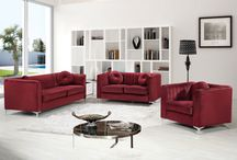 Isabelle Living Room Set - Meridian Furniture / The Isabelle Collection by Meridian Furniture.   Features beautifully designed velvet upholstery with custom chrome legs. This collection is guaranteed to be the highlight of any home. Throw pillows included.