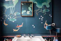 Bathroom  Inspiration / Misha handmade wallpaper in bathrooms.