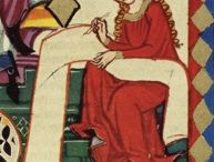 Art / Medieval woman scribe - snippet from Codex Manesse