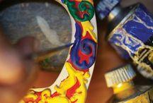 cchiali dipinti a mano lìin legno per Art