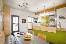 Industrial Kitchen / Kitchen with industrial elements and colorful cabinets.
