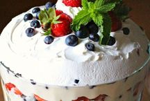 Trifle / A trifle is a cold dessert of sponge cake and fruit covered with layers of custard, jelly, and cream.