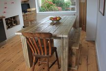 Scaffold board dinning tables / Scaffold board table - solid wood tables made from reclaimed scaffold boards