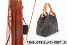 PENELOPE BLACK REPTILE  ITALIAN LEATHER HOBO
