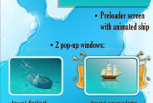Sea Theme Game Assets / Game Assets for Sea Theme Game: Top view 24 unique islands, 8 ships  Game screens Animation  The files are available in layered PSD and PNG with transparent background. All assets made for 2048×1536 resolution. #assets #game #vector #UI #cartoon #casual #awesome