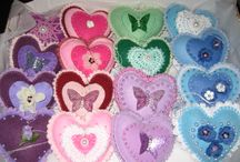 SYLVIA PACEY / Stuffed felt hearts I have designed and made to raise funds for St. Margaret's Hospice in Somerset. U.K