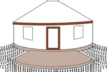 my yurt / the central structure is a yurt on an earthbag foundation with rice hulls in polyurethane bags as insulation covered by earth plaster (inside) and pallet wood (outside).   It is  topped by an overhanging forested wood/ green roof . / by yolonda nicole