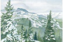 Watercolour paintings / Original art of Whistler and Blackcomb Mountain ski resort.