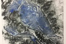 my work In the 4th minute a bit of blue & silver #collagraph #crow #print #printingpress