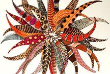 Zentangles, coloured.