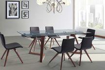 Modern Contemporary Wood Veneer Walnut Extendable Dining Table