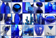 Cobalt Blue Glass / I confess -- I'm crazy for blue glass. My dishes are all blue glass (not more than 2 of any piece). It all mixes and matches into a happy mismatched perfection. / by Valerie Geurts