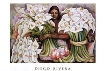 """Diego Rivera Art Prints / Diego Rivera art prints depict the lives of the working class people of Mexico. Some of his most famous artworks include """"The Flower Seller"""" and """"Nude with Calla Lillies."""" Rivera is well-known for his for his political activism, which he also shows through his art. / by Bandaged Ear"""