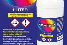 Nonjontensid / Nonjontensid är en optimerad tensid för vattenbaserade avfettning  med en utmärkt miljöprofil. Nonjontensid är en koncentrerad  tensid (ytaktivt medel) och kan användas i hemmet, i kosmetika, i flytande tvål, som vätmedel och i rengöringsprodukter etc. Använd  skyddshandskar, skyddskläder, ögonskydd och ansiktsskydd. Dosering: 0,3 gram / liter vatten för rengöring.