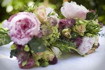 country garden wedding flowers in classic pinks and blues / wonderful combination of blue skies and flushed cheeks!!