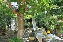 Salle a manger jardin / Ambiance repas rupestres
