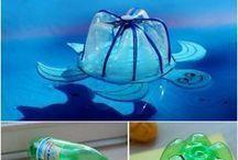 tortue avec des bouteilles