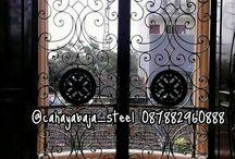 Pintu Utama / Pintu Doubel Besi Tempa Klasik ( WROUGHT IRON ) CAHAYA BAJA STEEL