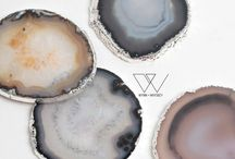 wynn + whiskey / Wynn + Whiskey is proud to bring you one of a kind agate coasters to save your delicate furniture from damaging moisture in a trendy, unique way. All of our natural Brazilian geode coasters are first sliced, then polished on each side and finally coated by electrolytic deposition (electroplating) in on-trend gold or silver. Due to the nature of these natural stones, each coaster will be unique.