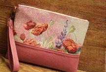 """Клатч """"Маки"""", кожа, гобелен, розовый, лиловый"""