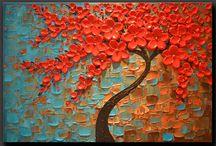 arbre fleurs rouge