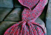 Knitted mermaid tail / blanket