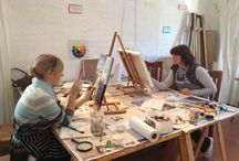 Students at work / Wonderful women creating - in the studio and plein air painting in Hout Bay