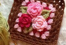 編み物(flower motif)