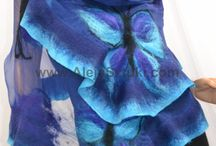 Silk scarves / Hand made silk scarves decorated with Australian merino wool