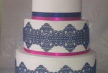 Lace Navy & Pink wedding cake / Chocolate cake, with chocolate ganache.  Navy edible lace with pink & white sugar flowers