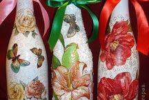 μπουκάλια ντεκουπαζ με λουλουδια