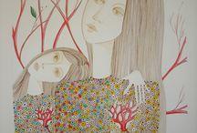 """Dessins et peintures Marie-F. http://www.marie-f.com / """"Elles, dans la lignée de Vébue"""". Dessins, peintures. Visages de femmes."""