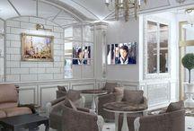 Дизайн интерьера отеля в стиле неоклассика / Пожелания заказчика: разработать дизайн интерьера отеля класса люкс в стиле неоклассика.
