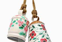 Set of 2 Floral Designed Bells