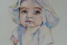Portraits of Kids / I love painting kids...especially babies..they just look great in watercolor. Lately I've been into painting profiles & may start putting Victorian hats on these kids too!
