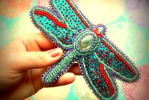 My beadwork..  Brooches