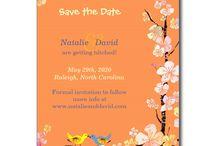 Sakura with Love Birds Wedding Collection / Soft cherry blossom flowers and cute, romantic love birds illustrated on custom wedding invitations & favors!