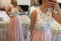 White Pink Pearl Beaded Hollow Out Top Bridesmaid Dress