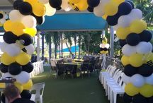 Bumble Bees / Black white and Yellow Bumble Bees balloon columns, balloon Arches and balloon topiaries Great for you next Bumble Bee themed Party,