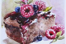 watercolor sweet cakes food / art watercolor food cakes dainty sweet