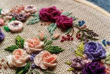 Embroidery and beaded brooches