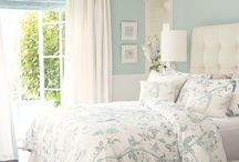 Grey light blue bedroom