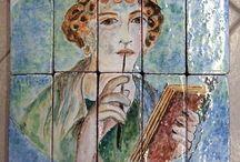 Pannello Maiolica sù mattoni.La poetessa di Pompei