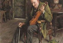 """[1865 - 1958] Charles Spencelayh - Genre Art / Charles Spencelayh was an English genre painter and portraitist in the Academic style.  Many of his subjects were of domestic scenes, painted with an almost photographic detail, such as """"The Laughing Parson"""" (1935) and """"His Daily Ration"""" (1946). He also painted still life subjects including """"Apples"""" (1951).  Spencelayh was a favourite of Queen Mary, who was an avid collector of his work. In 1924 he painted a miniature of King George V for the Queen's dolls house."""