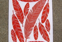 Seeing red. Prints. / Linocut (and more) prints printed with red ink.
