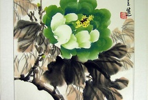 """CHINESE PAINTING-PEONY FLOWERS / Peony  In China, peonies earns the name """"the national beauty"""" or """"the King of flowers"""". They symbolize royalty, rank, wealth, and honor and thus known as fuiguihua (富贵花) cnartgallery.com"""