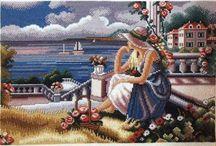 Schema punto croce donna al mare