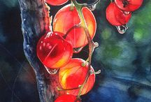 Owoce frutis akwarela