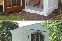 Repurposed doors into sheds